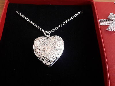 Brand new silver 925 stamped necklace with heart shaped locket  and gift box