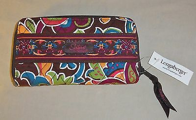 Longaberger Sisters Zip Around Wallet Bliss New