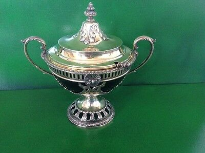 Gilded Antique English Sterling Silver Sauce Tureen Bowl and Ladle-1912