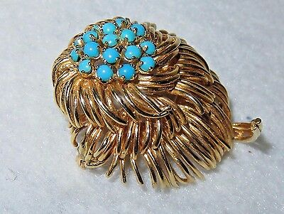 14k Yellow Gold Turquoise Bead Flower Brooch - 21.17g