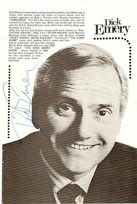 Dick Emery Hand Signed Page