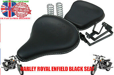 HARLEY ROYAL ENFIELD FRONT REAR BLACK LEATHER SADDLE SEATS + Springs brackets