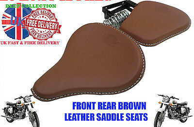 FRONT REAR BROWN LEATHER SADDLE SEATS PAIR HARLEY TYPE ROYAL ENFIELD+ Springs
