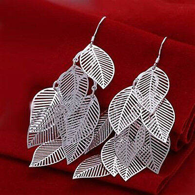 Wholesale Discount Solid 925 Sterling Silver Jewelry Hollow Leaf Earrings