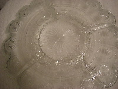 Beautiful Vintage Clear Sandwich Glass Divided Round Relish Tray