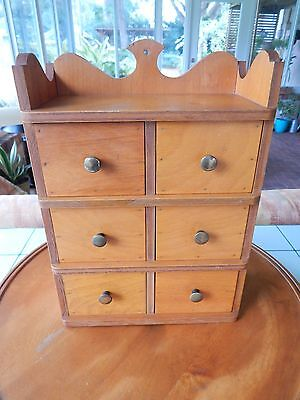 Vtg Handcrafted WOOD SPICE CABINET APOTHECARY Storage 6-Drawer/Shelf Brass Knobs