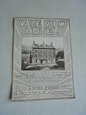 Vintage Hotel Brochure Vale View Hotel Ambleside The Lake District