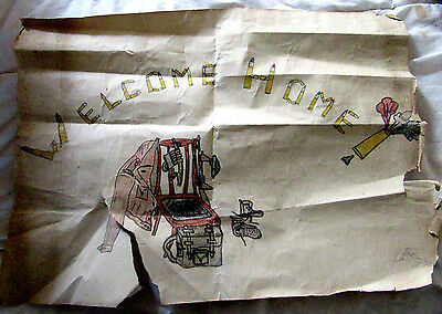 Original Vintage Ww2 Welcome Home Poster For Soldier's Return From Burma Signed
