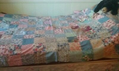 Antique Feedsack Material Patchwork Quilt Awesome!!