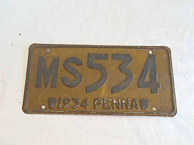 1934 Pennsylvania  License Plate Tag  MS534