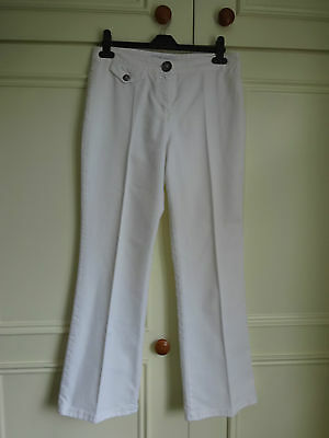 M&s Per Una White Stretch Bootleg Trousers Perfect Condition Size 12 Regular