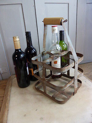 Vintage French galvanised wine bottle carrier