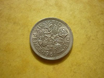 Gt Britain - Uncirculated Elizabeth Ii 1961 Sixpence With Lustre