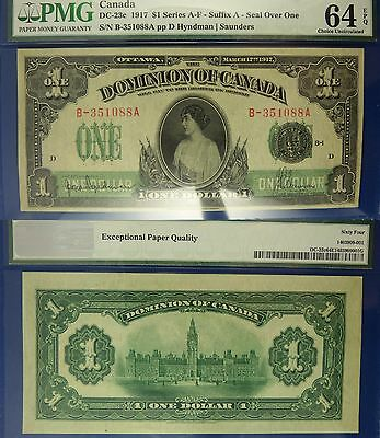 Canada Currency: Dominion: 1917 $1 DC-23c Suffix A - Seal Over One CU64 EPQ