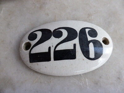 Antique Victorian ceramic door number plaque - 226