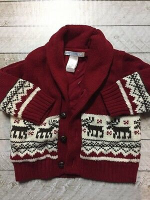Janie And Jack 3-6 Months Boy Christmas Sweater Reindeer Fair Isle Red Cardigan