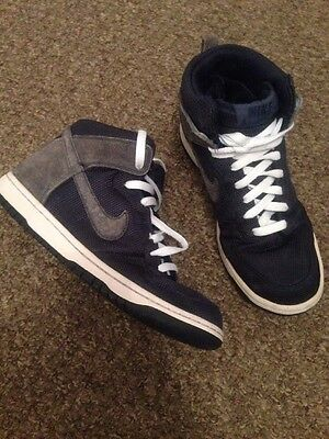Mens Nike Hi Tops Trainers Blue And White Size Uk 7