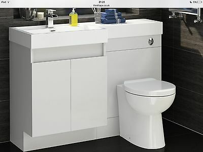 Bathroom Suite, Toilet And Cupboard Unit With Doors In White PRICE REDUCED