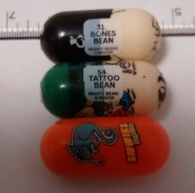 3x Mighty Beanz Collectable Beans - Tattoo Bean, Bones Bean & Smwiks Reptiles