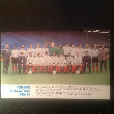 Signed genuine autograph team. Photograph fulham FC1972