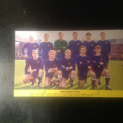 Signed genuine autograph team.  Photograph  Portsmouth FC 1960s