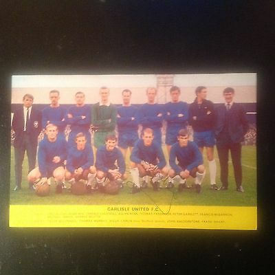 Signed genuine autograph team. Photograph  Carlisle United 1960s
