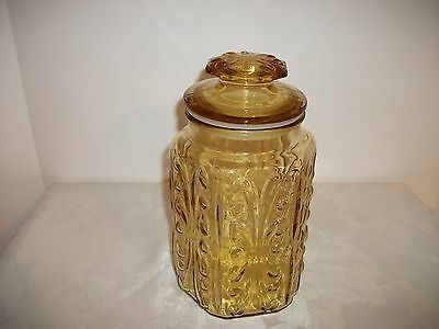 Vintage Gold Amber Glass Canister W/Lid