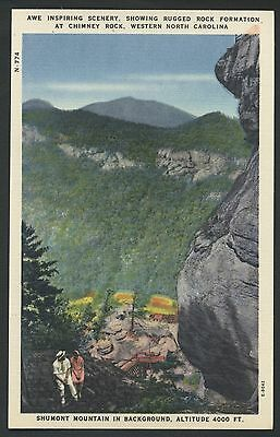Shumont Linen Mountain Scene Rock Chimney North Carolina Postcard