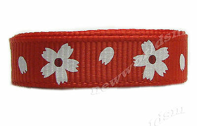 "8y 16mm 5/8"" Red Daisy Mother's Day Grosgrain Ribbon Eco Premium FREE PP"