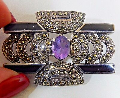 Magnificent Art Deco Sterling Silver Amethyst Black Onyx Marcasite Brooch Pin