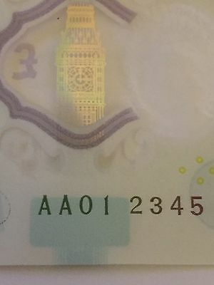 ***012345*** RARE & COLLECTABLE AA01 SERIAL NO. £5 Polymer Five Pound Bank Note