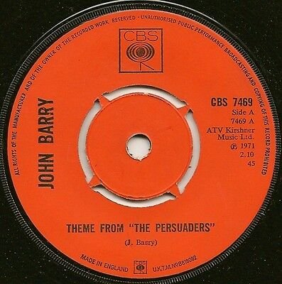 """John Barry """"theme From The Persuaders"""" Cbs Records Cbs 7469 (1971)"""