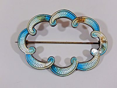 Antique Victorian Dated 1909 Rh Sterling Silver Guilloche Large Sash Brooch