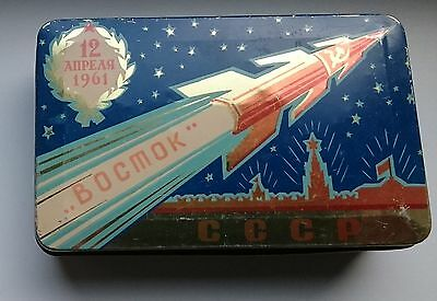 1961 Very rare Tin Candy Box Vostok Space Rocket Russian Soviet GAGARIN USSR
