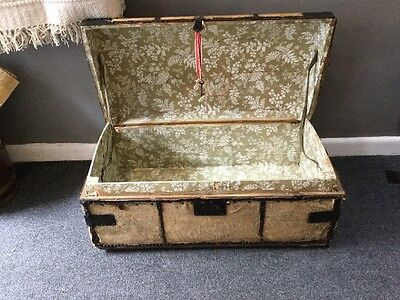 Early 19th Century Hide Covered Chest Trunk Georgian Travelling Trunk Coffer