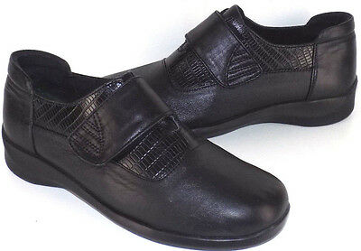 Aetrex E-820 Black Leather Adjustable Vamp Strap Loafers Womens US Size 6.5W
