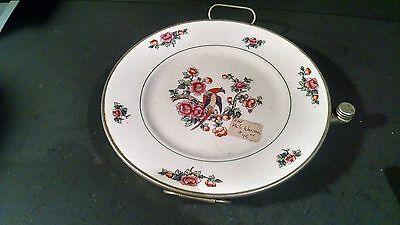 """Antique EXCELLO 9"""" Porcelain Plate with  Metal Warming Dish~Bird of Paradise"""