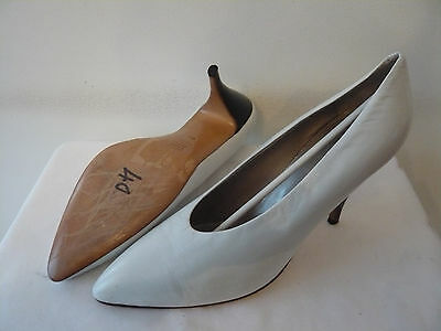 "Court shoes Top range Leather ""White"" et Heel ""Black"" I.BOSSI T. 40"