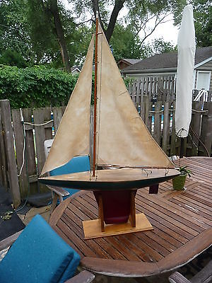 "ANTIQUE Vintage POND BOAT SAILBOAT SAIL 36"" 1937 WOOD WOODEN BEAUTIFUL BRASS TOY"