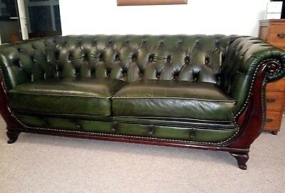 Chesterfield Antique Style Green Leather Two Seater Sofa