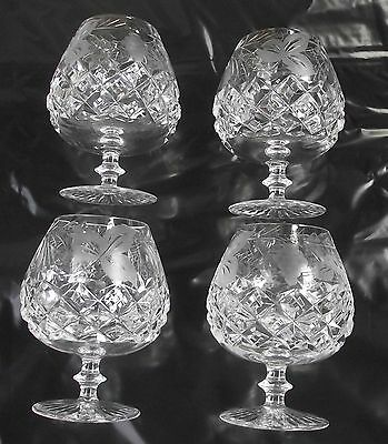 4 Vintage Grapevine Small Royal Brierley Crystal Brandy Glasses