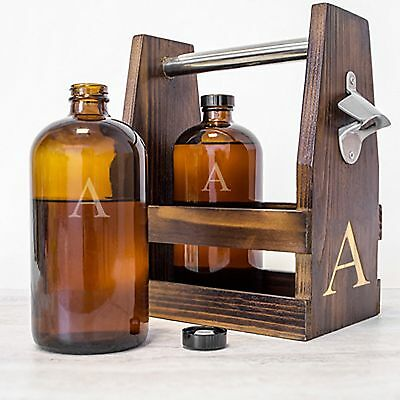 Personalized Beer Growler Wood Carrier Includes 2 Growlers also Personalized