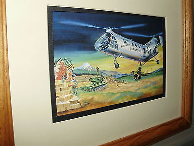 Piasecki H 21 Workhorse Helicopter Model Airplane Box Top Art Color  by artist