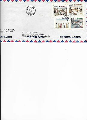 Stamps, Canada, FDC, Christmas Seasonal 1974, letter to New Zealand