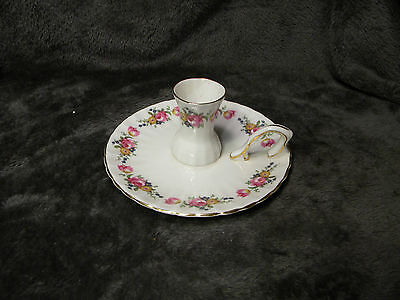 Royal Sutherland Bone China Floral Candle Holder Gold Trim with Attached Handle