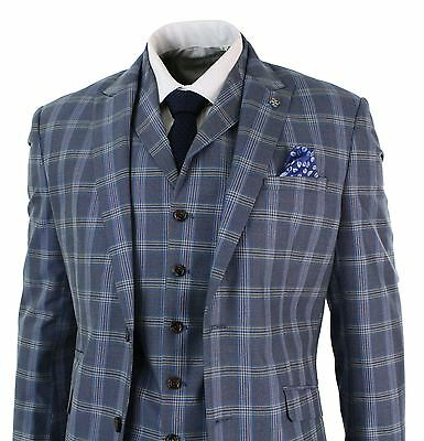 Mens Prince Of Wales Check Blue Grey 3 Piece Tailored Fit Suit Vintage Smart
