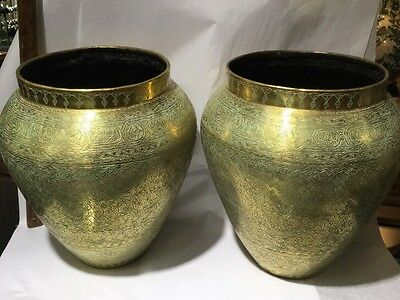 Pair Islamic Antique Urns Brass Hand Hammered Mameluk Damascene