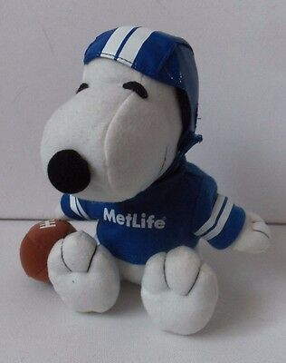 Metlife Snoopy Dog Plush Soft Toy Puppy Animal Figure In Rugby Dress Peanuts
