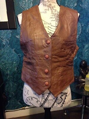Ladies Vintage Tan Buttersoft Leather Waistcoat Size 8/10/12