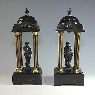 Pair Black Marble & Gilt Bronze Neo Classical Mounted Models of Temples